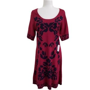 NWT NYCollection Maroon/Black Floral Sweater Dress